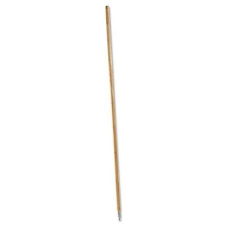 Boardwalk 138 Metal Tip Threaded Hardwood Broom Handle, Natural - 1.12 Dia.x 60 L