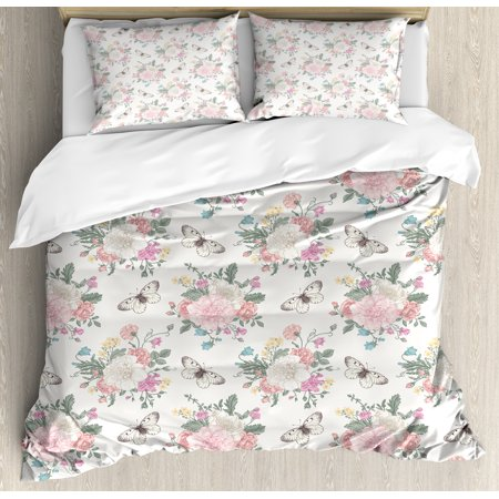 Fantastic Shabby Chic Duvet Cover Set Peonies Sweet Peas Roses Bouquet And Butterflies Pastel Tones Bridal Theme Decorative Bedding Set With Pillow Shams Home Remodeling Inspirations Basidirectenergyitoicom