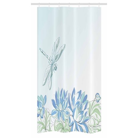 Dragonfly Stall Shower Curtain, Waterlilies Flowers and Dragonflies Simplistic Design Eco Nature Theme Artwork, Fabric Bathroom Set with Hooks, 36W X 72L Inches Long, Blue Green, by Ambesonne (Echo Shower Curtain)