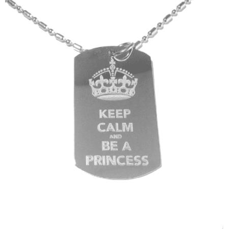 A Princess Crown (Keep Calm and Be a Princess Crown Logo Symbol - Military Dog Tag, Luggage Tag Metal Chain)