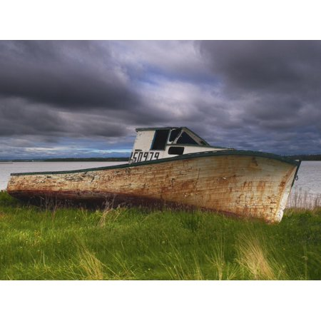 Old Rusty Lobster Boat on a Grassy Bank by the Ocean in Nova Scotia Print Wall Art By Frances Gallogly