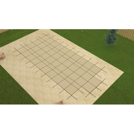 HPI 16x32 Aqua Master TAN Inground Solid Swimming Pool Safety Cover w/4x8 Step