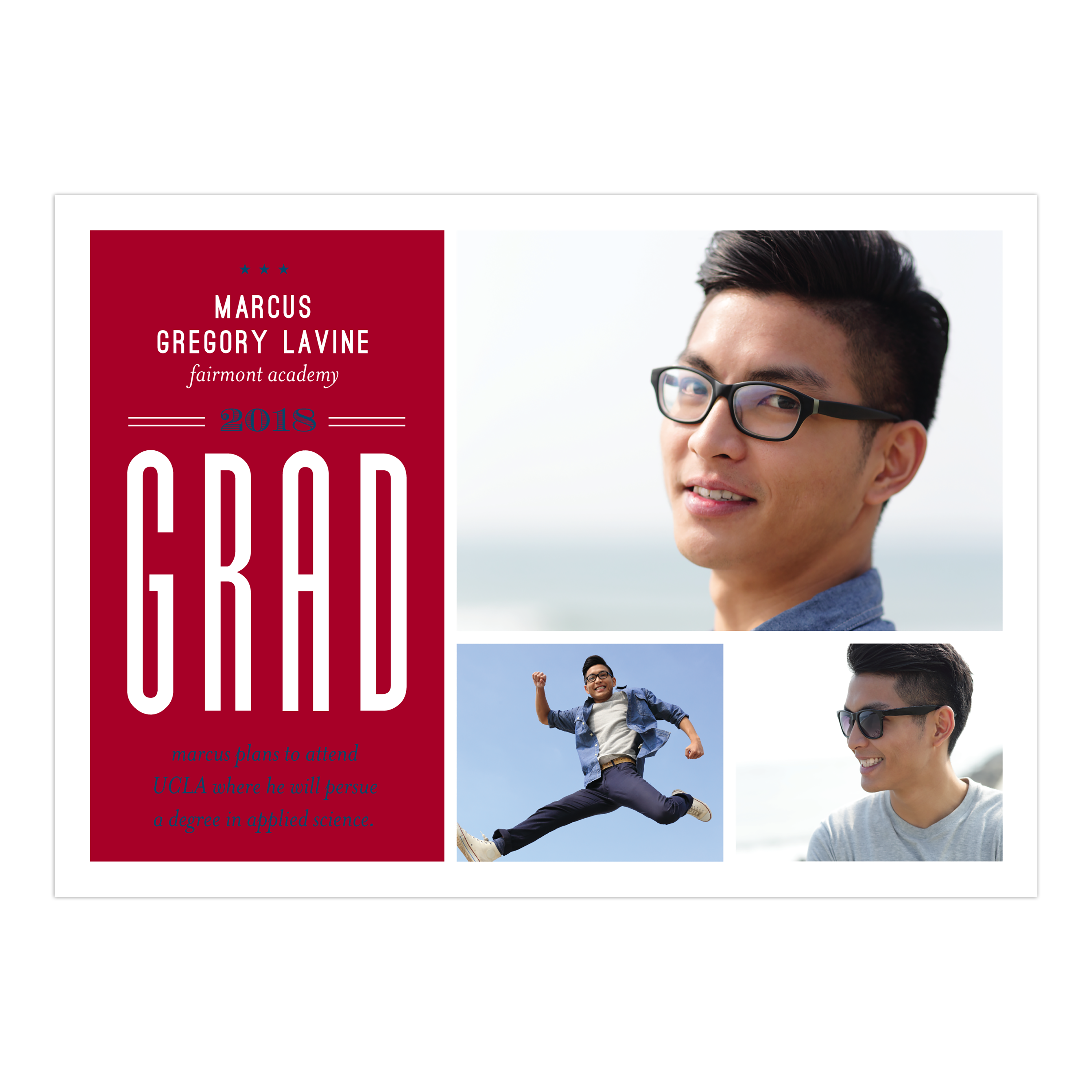 Personalized Graduation Announcement - Grad Spirit - 5 x 7 Flat