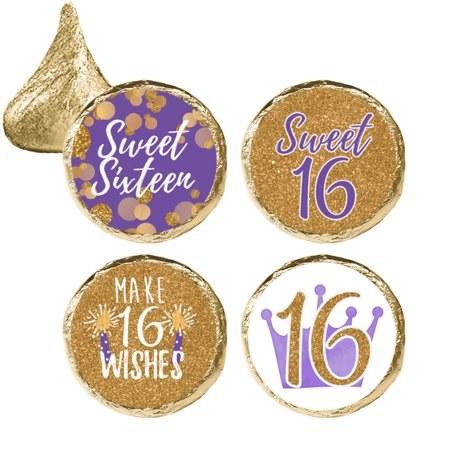 Sweet 16 Party Favor Stickers, 324 Count - Purple and Gold 16th Birthday Party Decorations, Sweet Sixteen Party Favors
