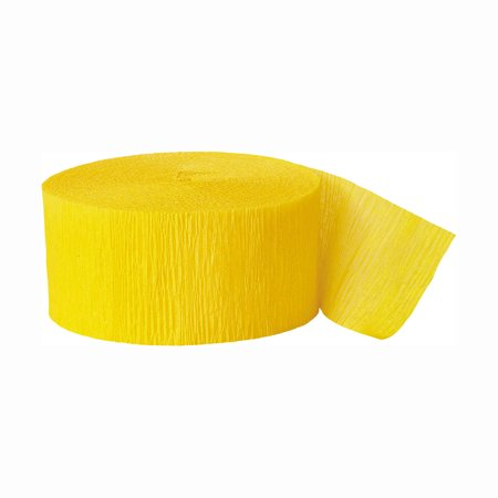 (2 Pack) Bright Yellow Crepe Paper Streamers, 81ft