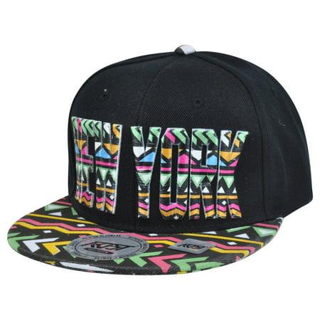 New York City Big Apple Aztec Print Snapback Black Adjustable Flat Bill Hat Cap
