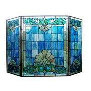 "CHLOE Lighting KEANU Tiffany-style 3pcs Folding Victorian Fireplace Screen 44"" Wide"