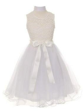 935b5294f19 Product Image Little Girls White Bodice Tulle Scarf Flower Girl Dress 6