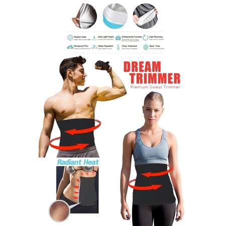 Waist Trimmer  Belly Fat Cellulite Burner With Silver Anti Bacterial Coating  Body Shaper Exercise Belt  Sweat Sauna Abdominal Binder  Training Fitness Belt  Mens Large  32    34