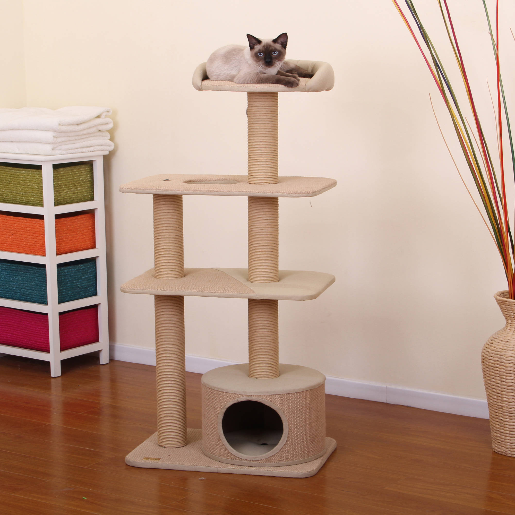 Petpals Group Spire 4 Levels Paper And Jute Towers With Lookout And Condo  Hideout   Walmart.com