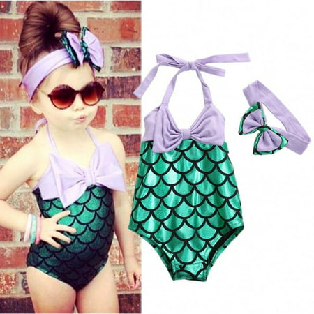 Baby Girls Mermaid Bow Bikini Suit Swimwear Swimsuit Bathing Swimming - Old Style Bathing Suits