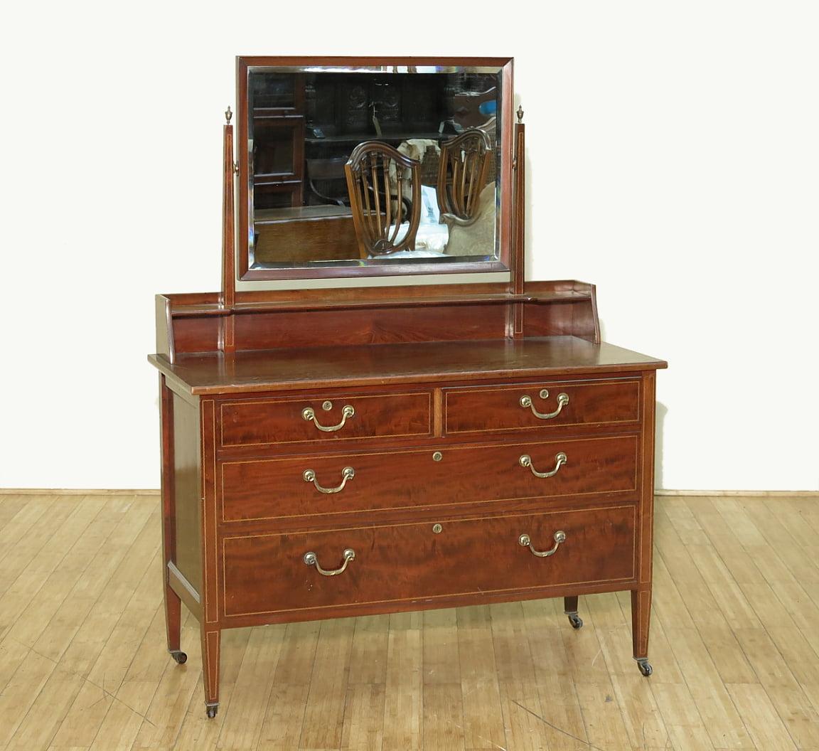 c1950 Antique English Flame Mahogany Vanity Chest Dresser...