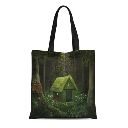 Moss Cottage - ASHLEIGH Canvas Tote Bag Fantasy Little House of Moss in Enchanted Forest Cottage Reusable Shoulder Grocery Shopping Bags Handbag