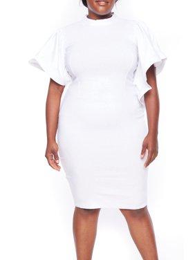0a738f6703b Product Image Womens Plus Size Peplum Pleated Circular Cap Long Bodycon  Dress 522X-XL-White