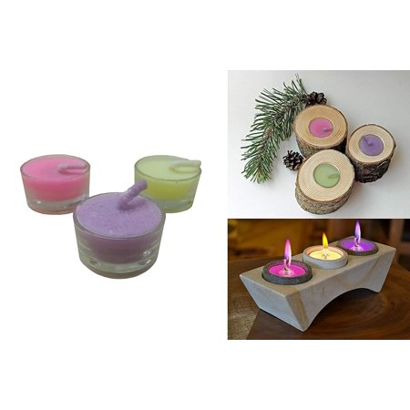 Decor Hut Holloween Candles Tea Light with Color Flame, Burns Colored Flame Matching Color of Candle Wax.Set of 3 (Round Glass (Glasses Hut Coupons)