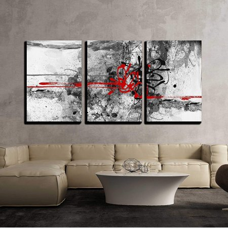 Abstract Space Art (wall26 - 3 Piece Canvas Wall Art - Highly Detailed Grunge Abstract Textured Collage with Space for Your Text - Modern Home Decor Stretched and Framed Ready to Hang - 24