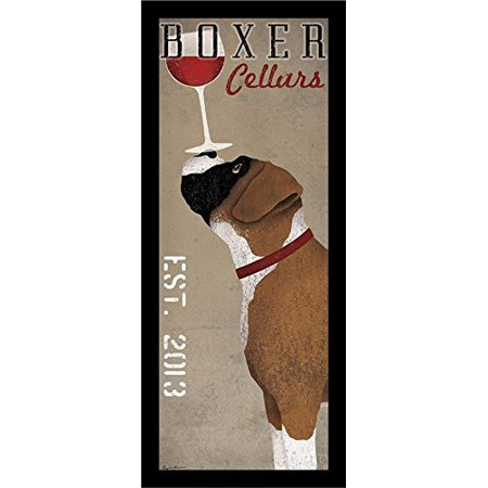 Buyartforless Framed Boxer Cellars Ryan Fowler Advertisements Vintage Ads Dogs Wine Print Poster 8X20