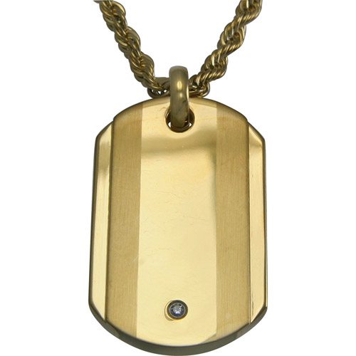 """CZ Yellow Stainless Steel Dog Tag Pendant, 24"""""""