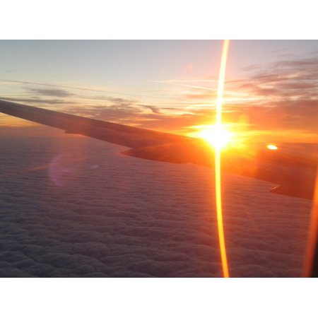 Canvas Print Jets Sunrise Airplane Wings Flying Aircraft Window Stretched Canvas 10 x 14 - Jets Flying