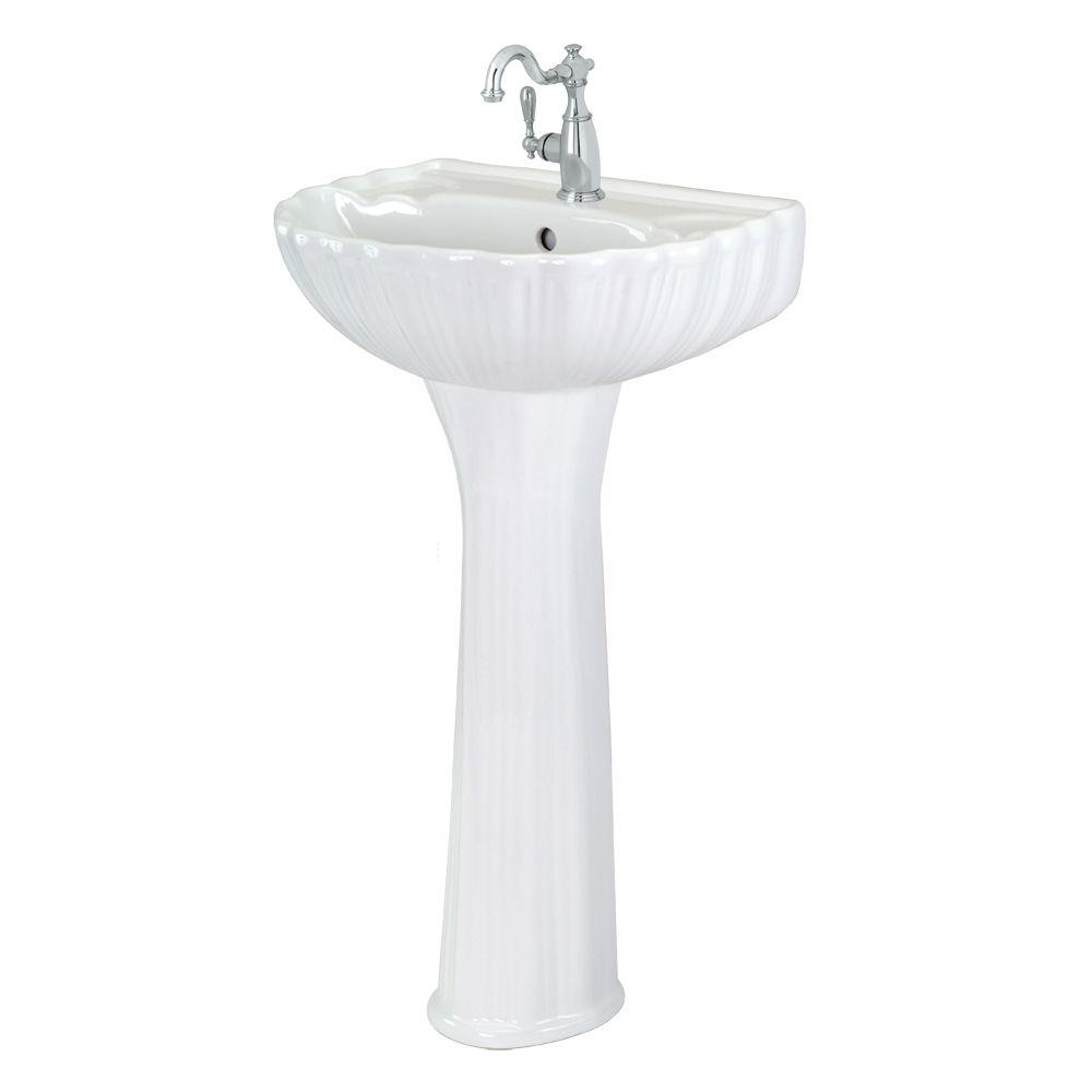 Foremost FL-08A-W Brielle Pedestal Sink Combo in White