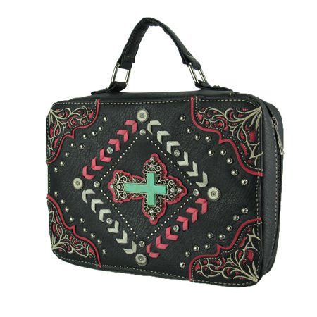 Purple Bible Cover (Stitched and Studded Faux Turquoise Cross Studded Bible)