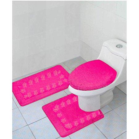 gorgeoushomelinen 5 3 piece hot pink embroidered bathroom bath rug contour lid cover set 100. Black Bedroom Furniture Sets. Home Design Ideas