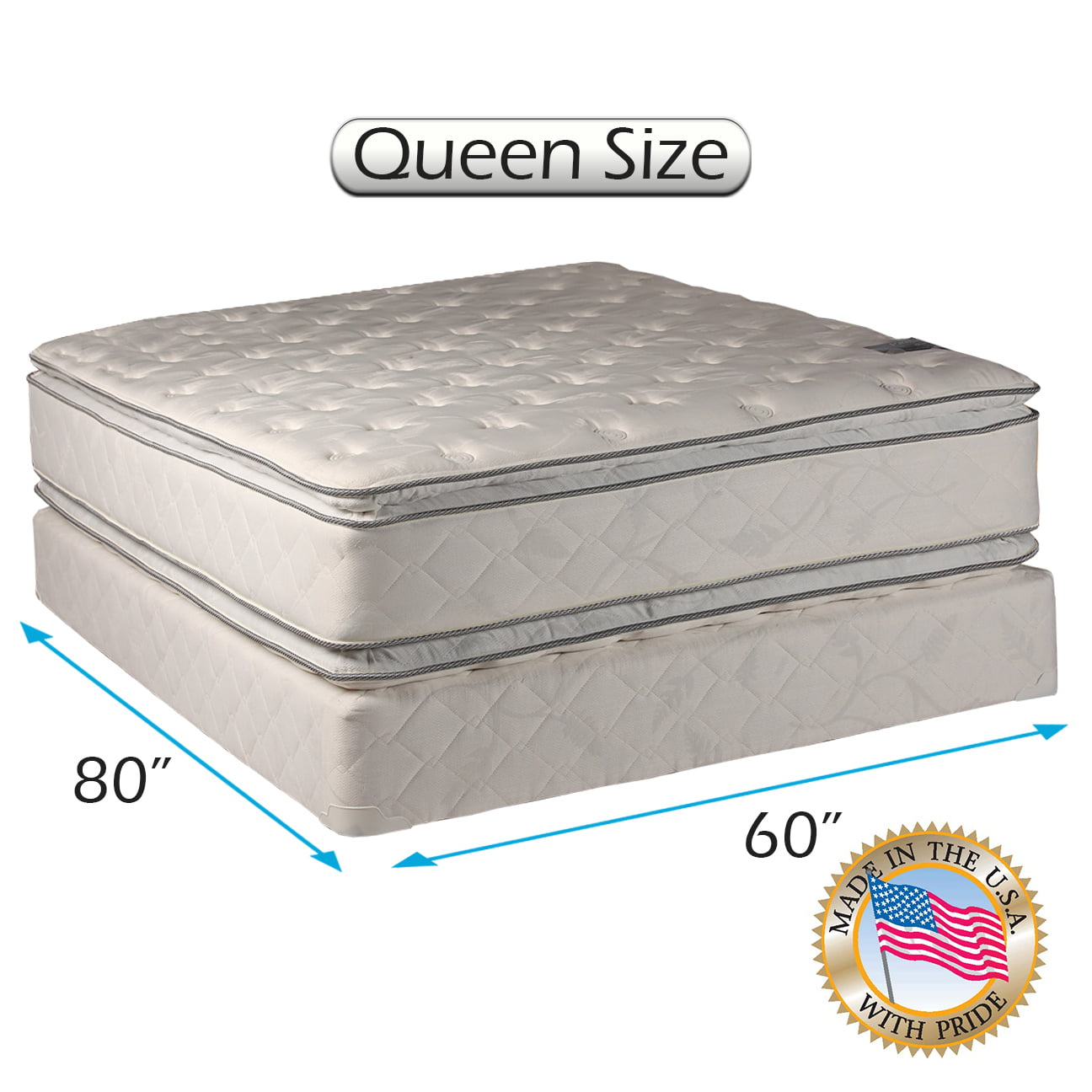 "dream solutions comfort pillow top 12"" queen mattress and box spring"