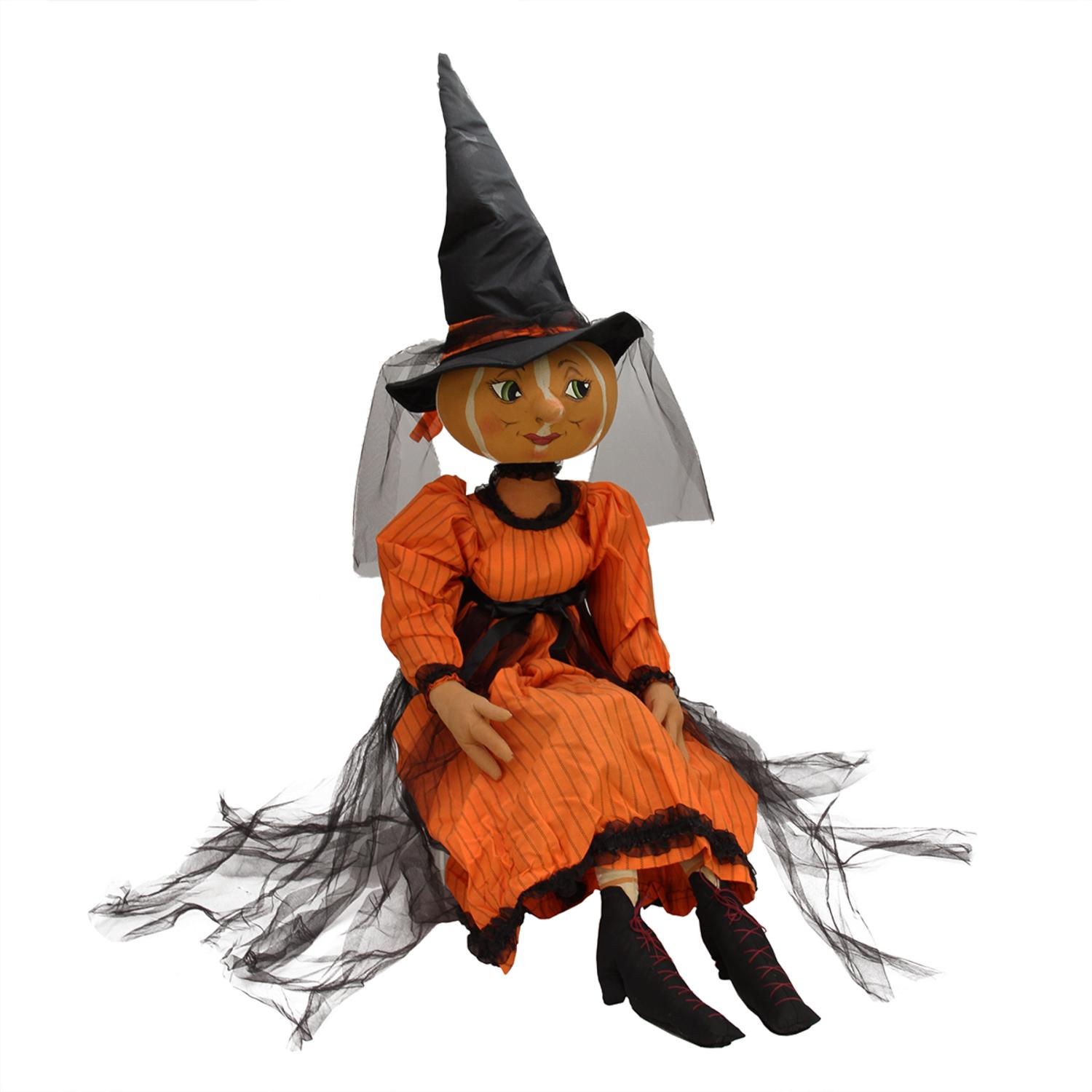 "40"" Gathered Traditions Isadora Pumpkin Witch Decorative Halloween Figure"