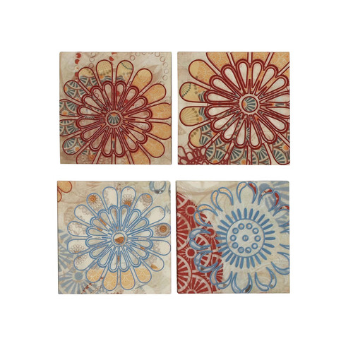 EC World Imports 4 Piece Flower Burst Embroided Canvas Multidirectional Art Wall Decor Set by ecWorld