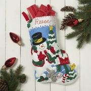 "Bucilla Felt Stocking Applique Kit 18"" Long-Snowman Mailbox"