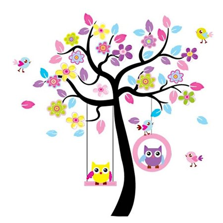 Home Bedroom PVC Owl Flower Pattern Self-adhesive Removable Decor Wall Sticker Decal Multicolor (Wall Stickers Owl)