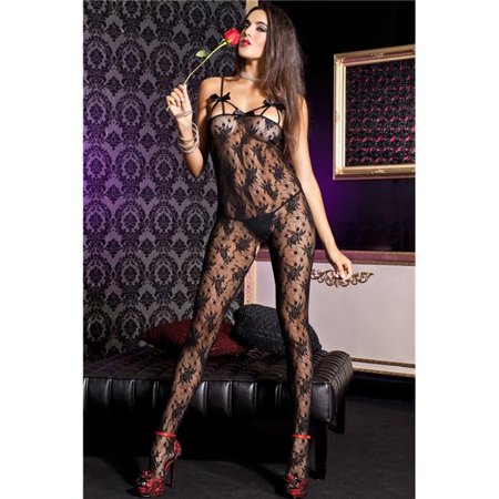 Front Rose Lace Bodystocking (Music Legs 1447-BLACK Rose Lace Crotchless Bodystocking with Front Straps & Satin Bows Cup, Black)