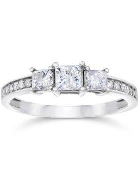 1/2ct Three Stone Princess Cut Diamond Engagement Ring 14K White Gold