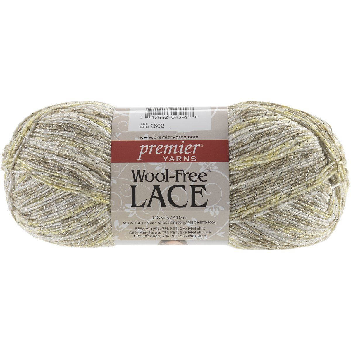 Free Lace Wool Yarn, White Gold, 88% Acrylic, 7% Pbt, 5% Metallic By Premier Yarns Ship from US