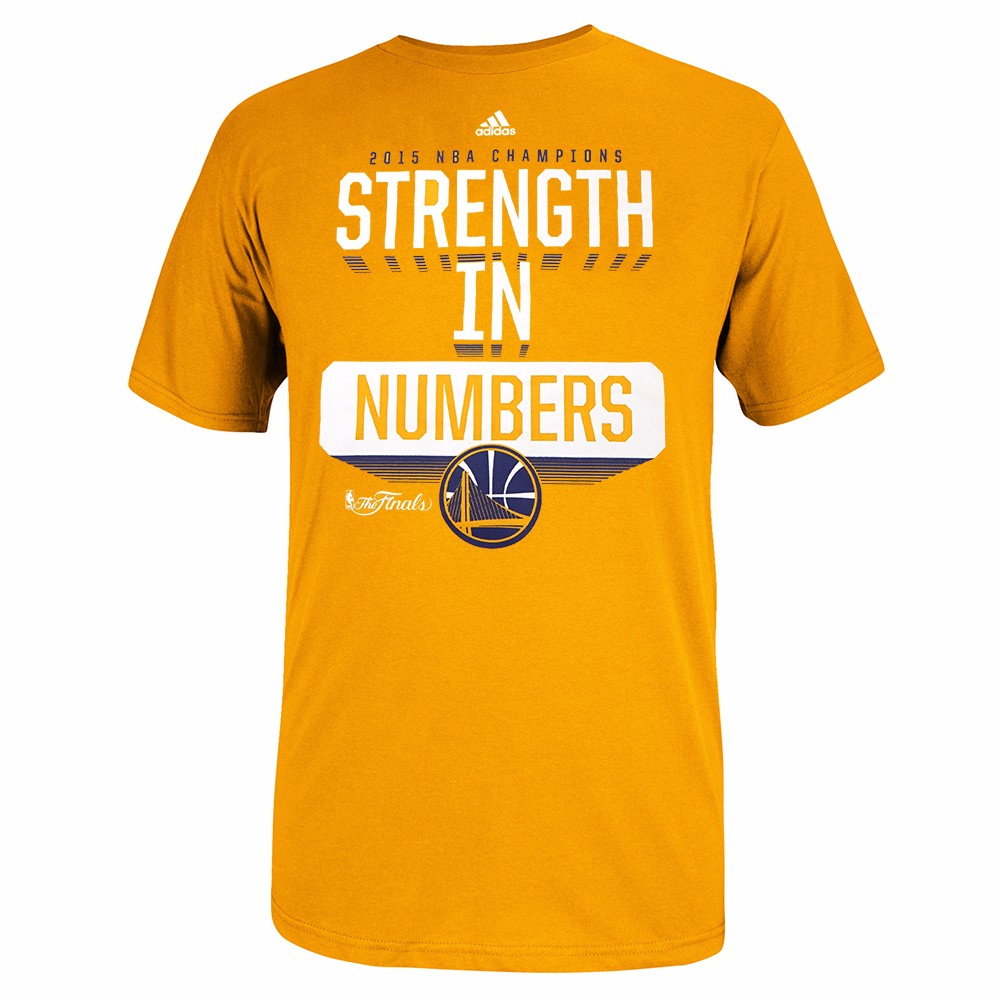 "Golden State Warriors NBA Adidas Men Gold ""Strength in Number"" Slogan NBA Finals Graphic T-Shirt"