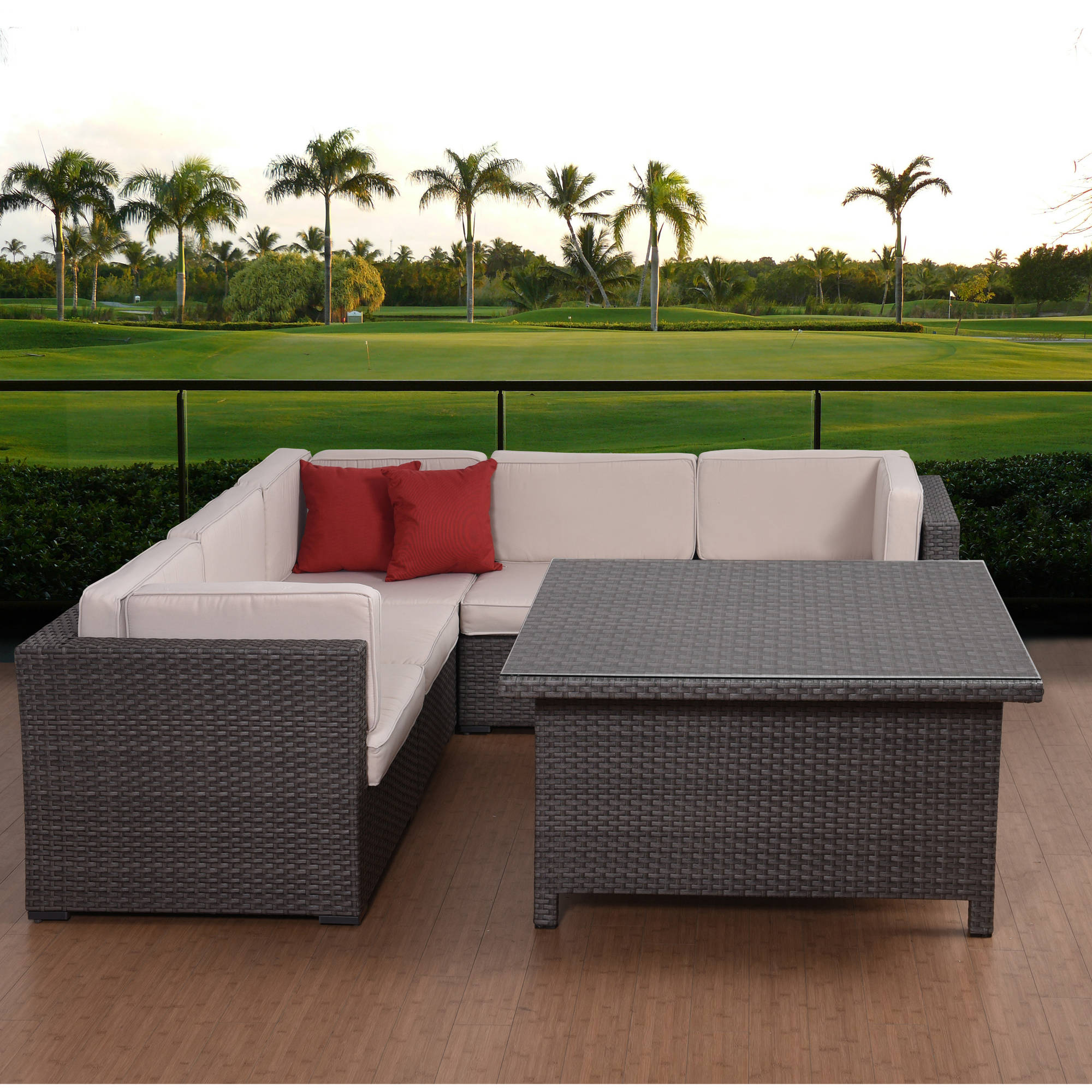 Atlantic Bellagio 7-Piece Sectional Grey Wicker with Square Table, Grey Wicker and Off White Cushions