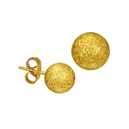 - iJewelry2 Stainless Steel Sandblasted Stardust Bead Ball Stud Earrings in Gold Tone 6mm