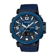 Casio Men's Pro Trek Solar Powered Triple Sensor Watch, Blue Nylon Strap