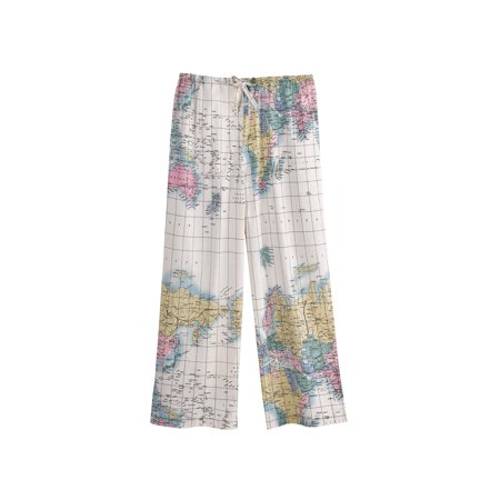Women's World Map Pajama Capri Lounge Pants - Cotton Pajama Bottoms