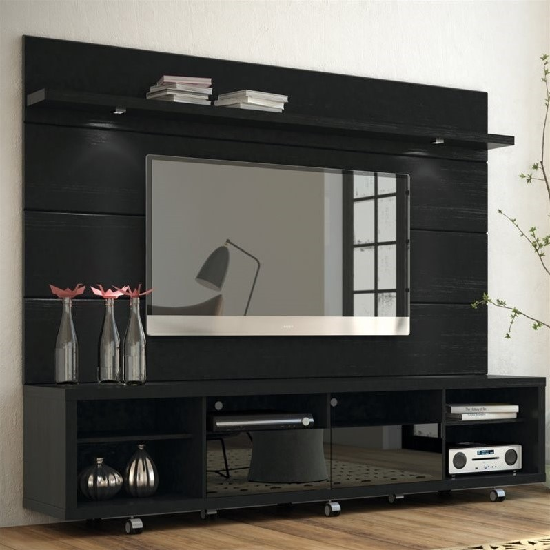 "Manhattan Comfort Cabrini 2.2 Series 85"" TV Stand and Panel in Black"
