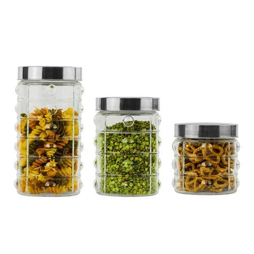 Imperial Home Glass 3 Piece Kitchen Canister Set Walmart Com Walmart Com