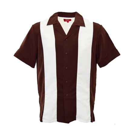 Guayabera Men's Retro Classic Bowling Two Tone Dress Shirt White Stripe / Brown (Best Guayaberas In Miami)