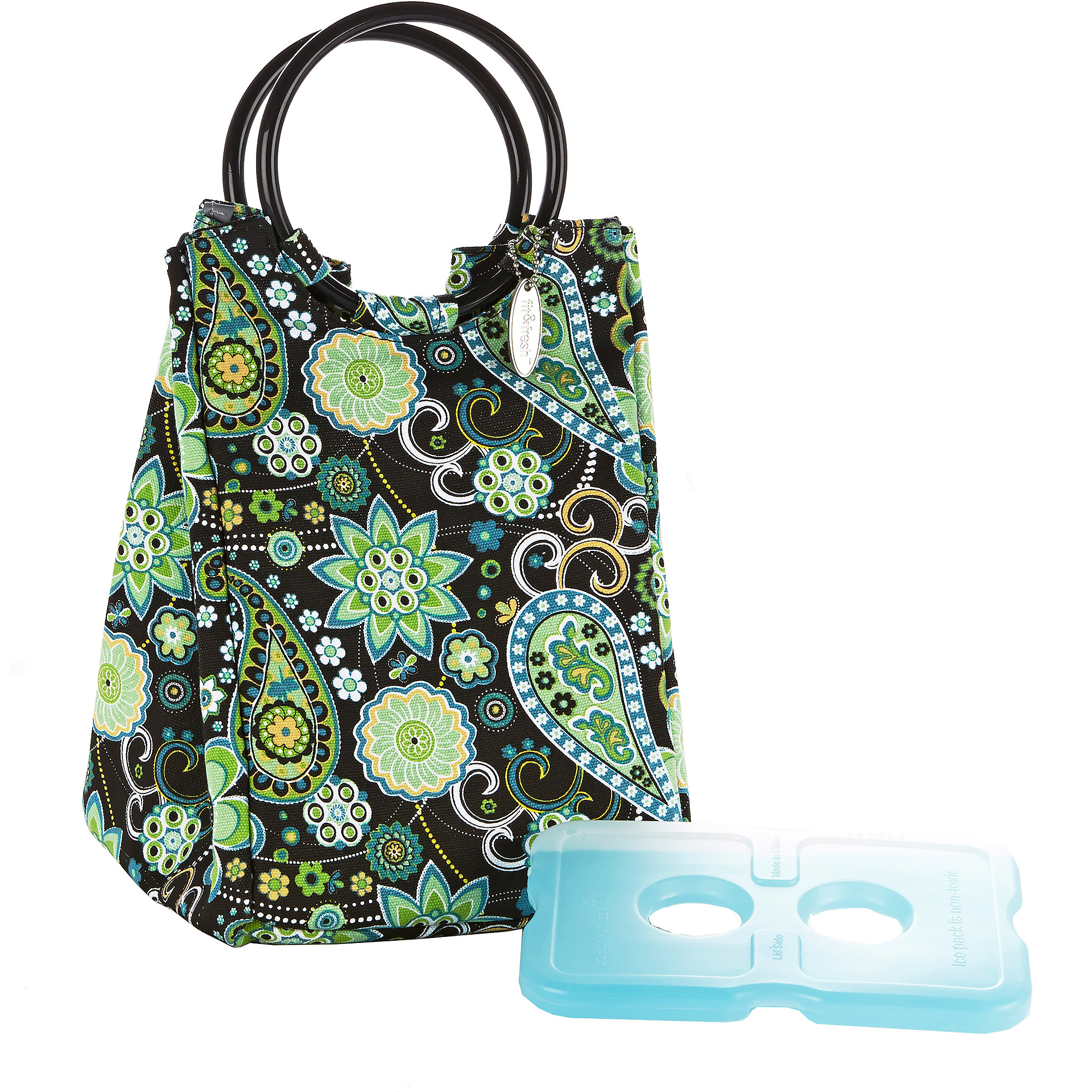 Fit and Fresh Retro Designer Lunch Bag in Green Paisley with Ice