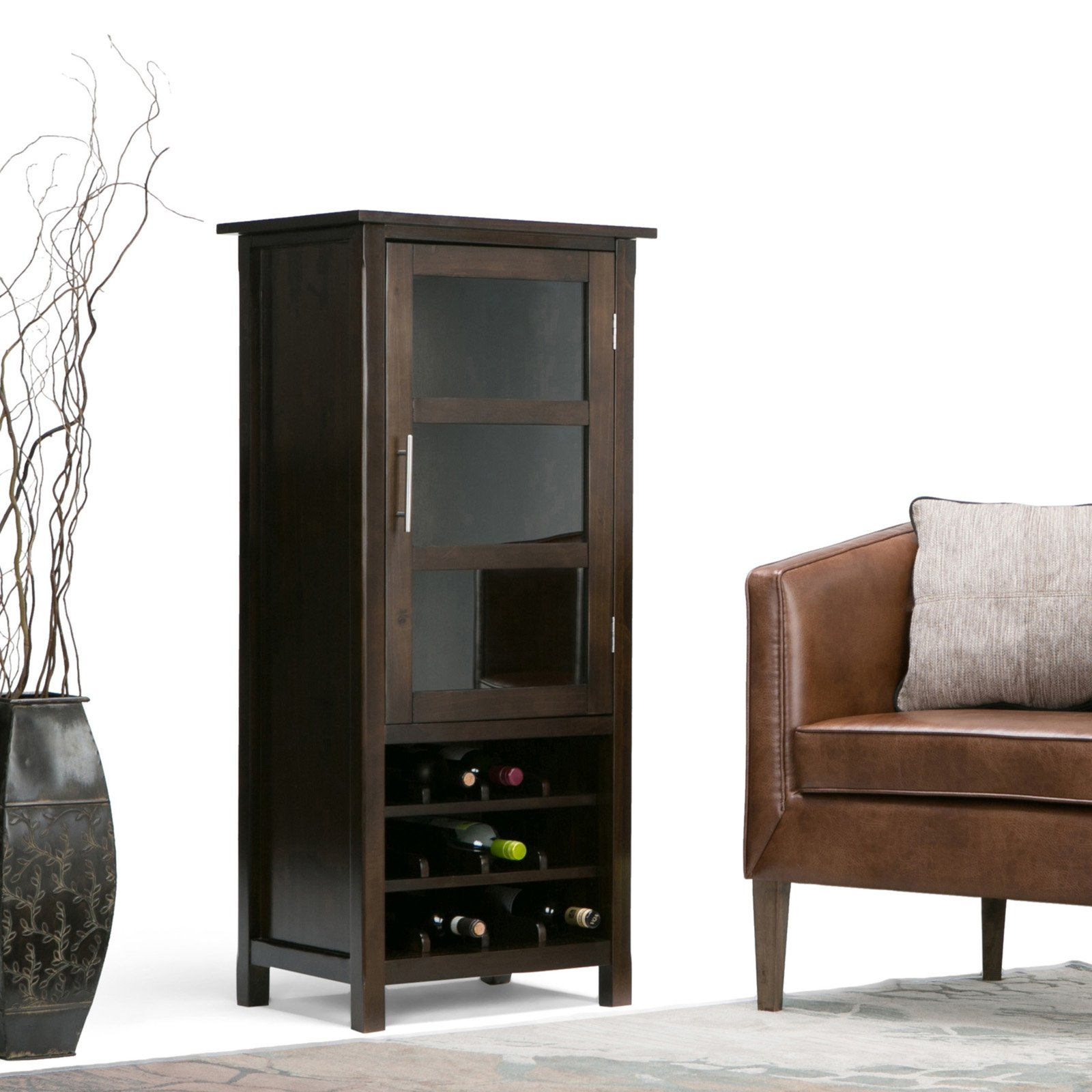 Simpli Home Avalon High Storage Wine Rack Cabinet by CCT Global Sourcing Inc