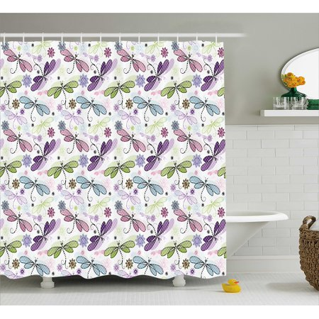 Dragonfly Shower Curtain Abstract Bugs With Indian Hippie Style Sketchy Flowers Artwork Fabric Bathroom