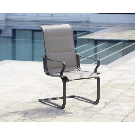 Cosco Outdoor Living Smartconnect Patio Padded Motion Chairs Gray Frame Beige Fabric 2 Pack