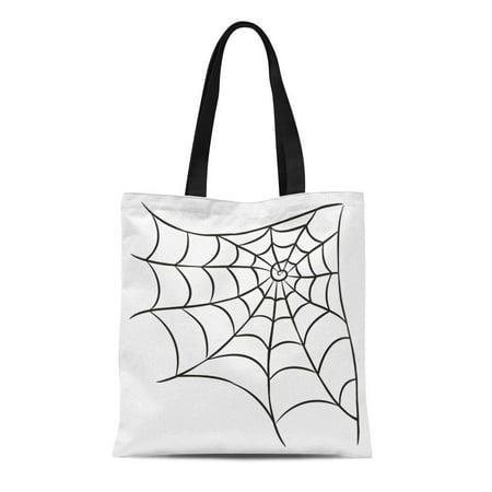 KDAGR Canvas Tote Bag Spiderweb Halloween Black Spider Arachnid Cobweb Contour Corner Reusable Shoulder Grocery Shopping Bags Handbag](Hamlin Corner Halloween)