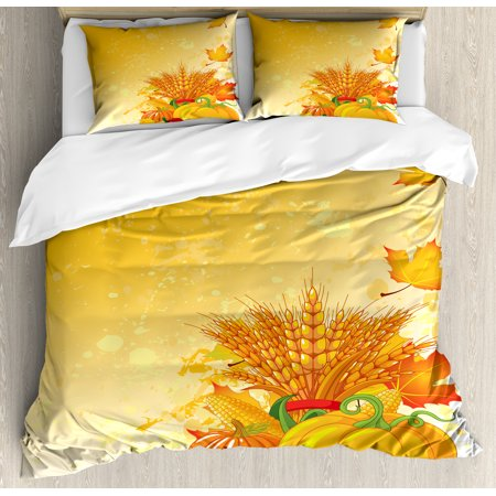 Harvest Duvet Cover Set, Vivid Festive Collection of Vegetables Plump Pumpkins Wheat Fall Leaves, Decorative Bedding Set with Pillow Shams, Earth Yellow Green Red, by Ambesonne