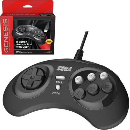 Retro-Bit Official Sega Genesis 8-Button Arcade Pad- USB Port - Black - PC/Mac (Sega Genesis Carrying Case)