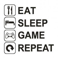Fancyleo Fun Eat Sleep Game Repeat Wall Sticker Removable Decal Mural Home Decor